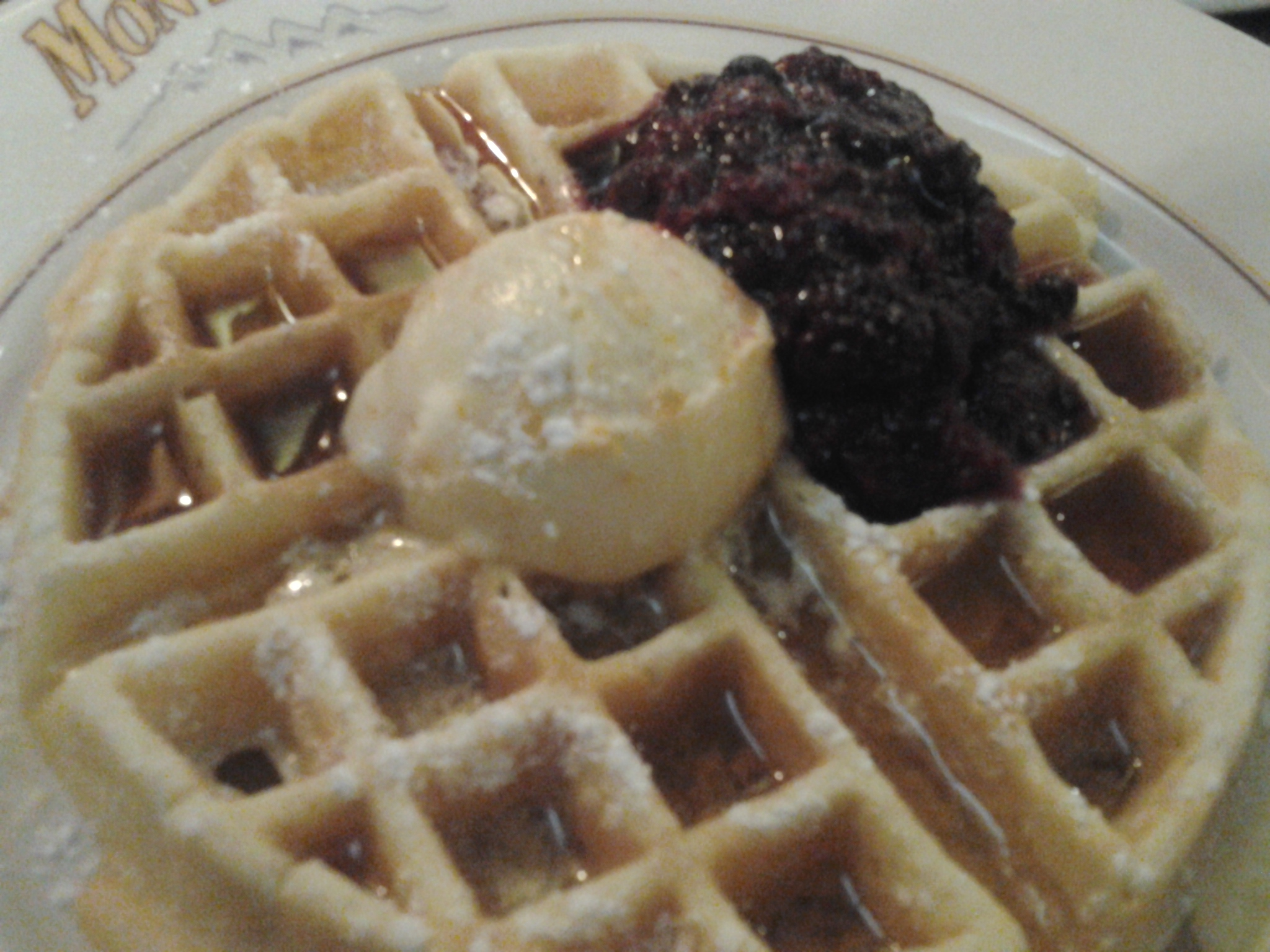 Belgian Waffles with Red Berry Sauce and Honey Orange Butter