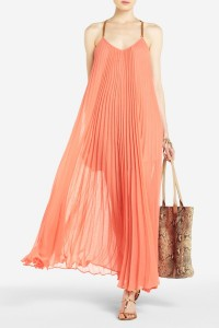BCBG Edita Maxi Pleated Dress, $348
