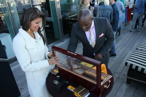 Saye Kokeh, Thompson Toronto General Manager, inspects cigars, photo Clarissa Magalhaes