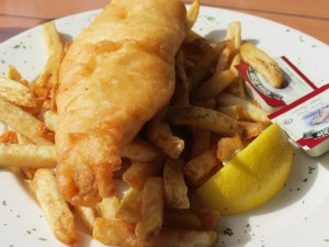 Fish and chips at Snug Harbour Bar and Grill