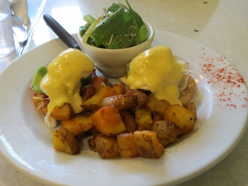 Eggs Benny with brie, avocado and bacon