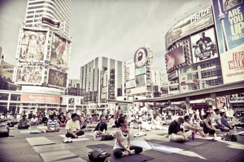 Yogathon at Yonge Dundas Square in Toronto