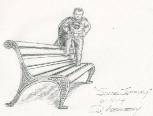 Sketch of Jeffrey Baldwin Statue