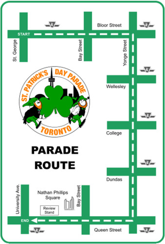 St. Patrick's Day 2014 Parade Route in Toronto, photo CNW Group/St. Patrick's Parade Society