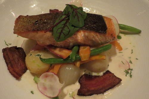 Seared Chinook Salmon with Maritime beans, carrots, potatoes at Beverley Hotel Toronto