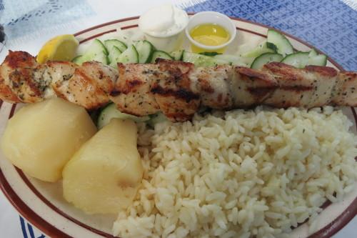 Chicken Souvlaki dinner at Asteria Souvlaki at Danforth and Pape, Toronto