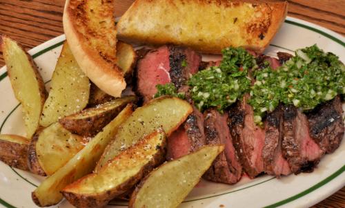 Flat Iron Steak with Chimichurri Sauce, photo jeffreyv Flickr