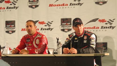 Tony Kanaan and Will Power at Honda Indy Toronto 2014, photo Lori Bosworth