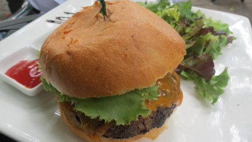 Cheddar Brisquet Burger with Mixed Field Greens at Rectory Cafe