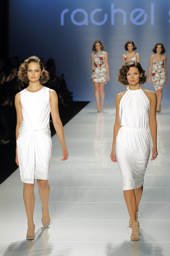 White dresses from Rachel Sin at World MasterCard Fashion Week