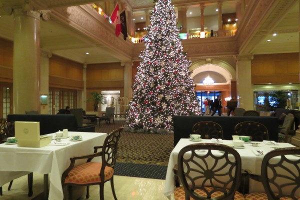 Christmas tree in the lobby of the King Edward Hotel