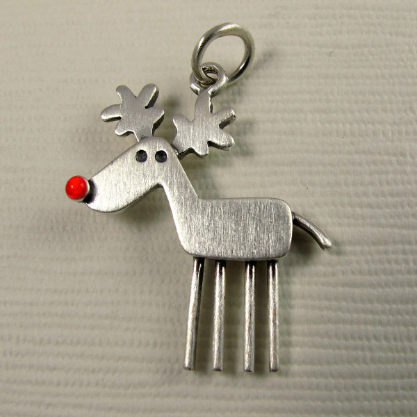 Rudolph Pendant in Brushed Sterling Silver from Stick Man Creations, $32 at Booth D12