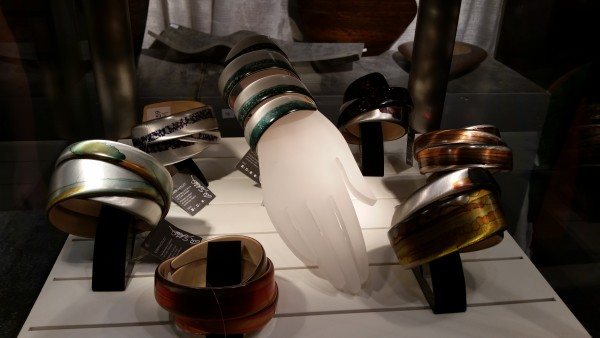 Aluminum and wood bracelets from Schleeh Design at the One of a Kind Show 2015