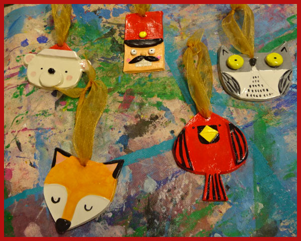 Clockwise from left: bear, conductor (or a nutcracker?), owl, bird, fox