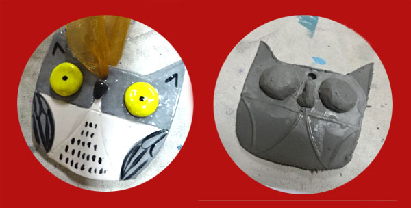 Cutting out the basic ornament shape from a template creates a standard shape, but the creation of other parts such as eyes and nose allows for improvisation.