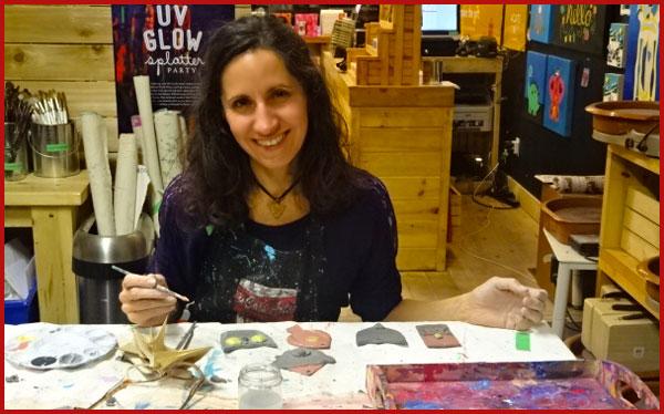 I'm painting my clay ornaments at 4Cats Art Studio.