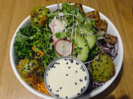 Falafel is part of the K&K Paleo dish at Kupfert & Kim at Richmond and Spadina in Toronto.
