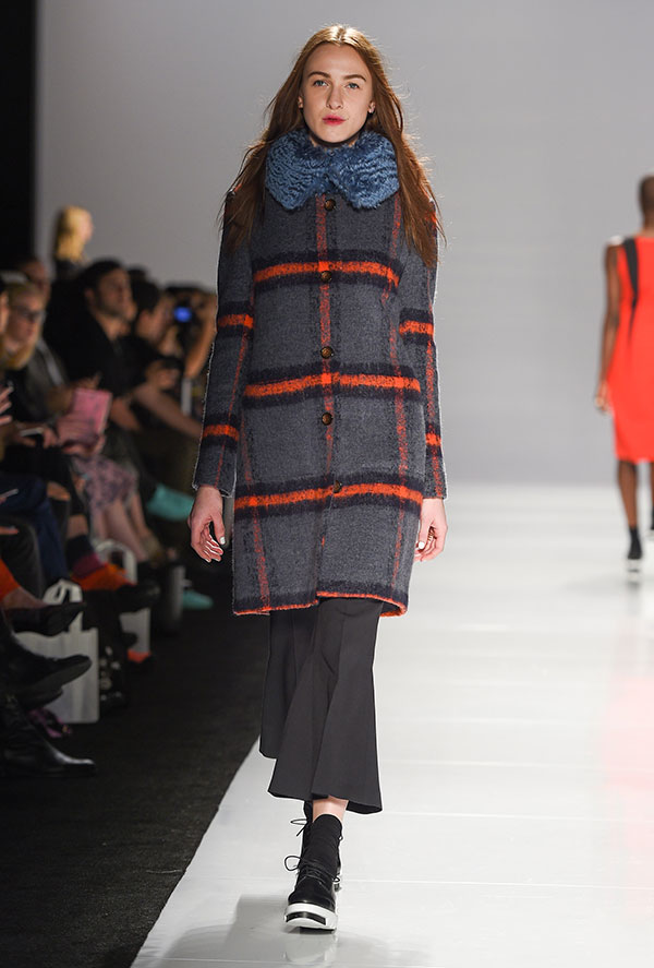 Plaid collegiate coat with scarf-like collar for the back-to-school look from Jennifer Torosian FW 2016 show at Toronto Fashion Week, photo credit George Pimentel