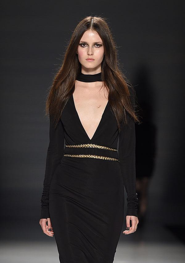 Plunging neckline black dress from Helder Diego FW 2016 show makes a dramatic statement, photo George Pimentel