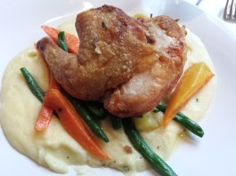 Sea Salt Brick Chicken with potato puree, heirloom carrots and roasted green beans, $27, at The Chartroom Bar & Lounge
