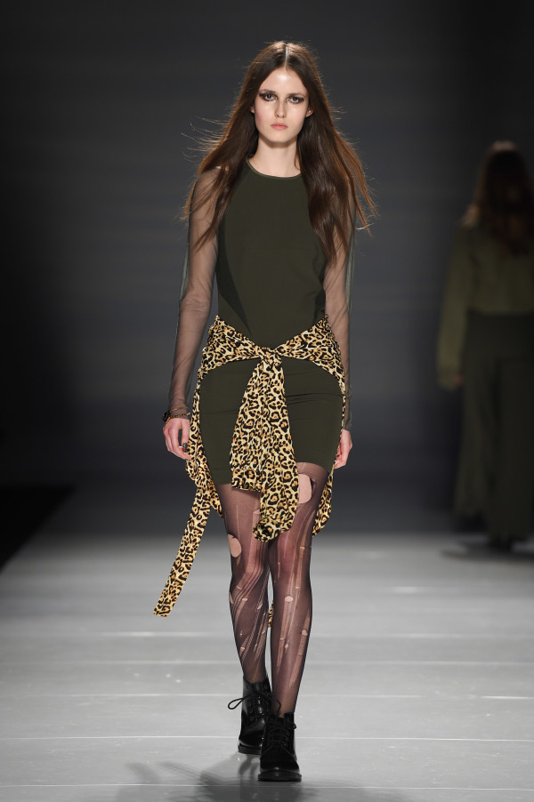 Strong army green dress softened with see through arms and a leopard print cardigan tied around the waist from Helder Diego FW 2016 show, photo George Pimentel