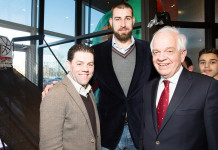 Paramount Fine Foods owner Mohamad Fakih, Toronto Raptors Jonas Valanciunas and The Honourable John McCallum, photo credit Nick Merzetti