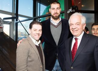 Paramount Fine Foods owner Mohamad Fakih, Toronto Raptors Jonas Valanciunas and The Honourable John McCallum, photo credit Nick Merzetti