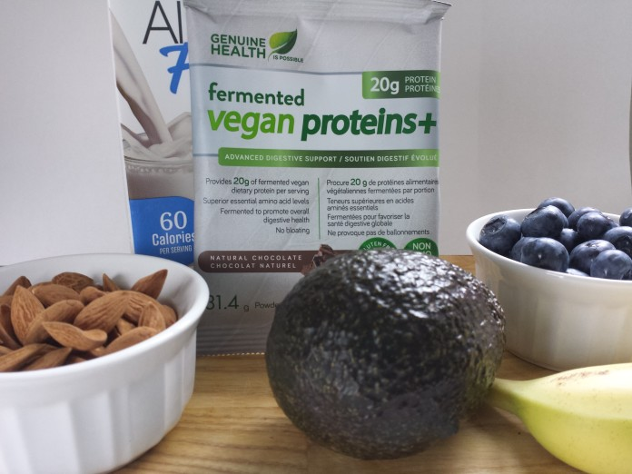 Ingredients for Blueberry Avocado Smoothie Bowl with Genuine Health Fermented Vegan Proteins