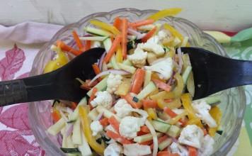 Julienne Vegetable Salad with Tahini Dressing