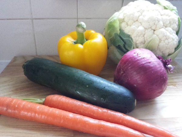 Zucchini, yellow bell pepper, cauliflower, red onion and carrots to make Julienne Vegetable Salad with Tahini Dressing