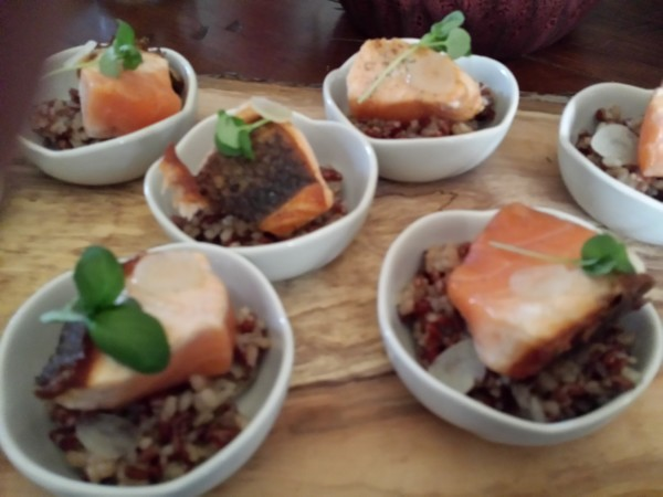 Salmon prepared by Chef Eyal Liebman of Chef and Somm using Microplane graters