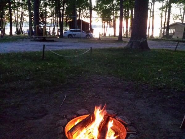 Enjoying a fire in our fire pit at Unit 39A at Sandbanks Beach Resort, Prince Edward County