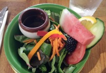 Green salad with fruit at The Painted Peppercorn