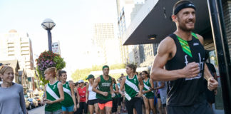 Ironman Champion Lionel Sanders leads runners in Freshii lululemon Sweat Like a Champion event in Toronto
