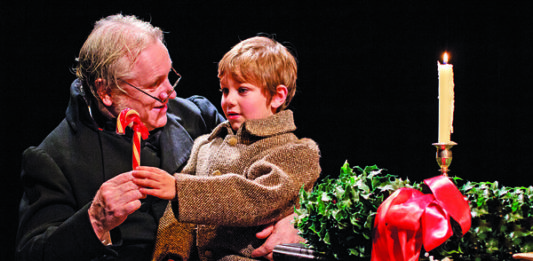 Joseph Ziegler, Kevin Gordon in A Christmas Carol (2014 production) at Soulpepper Theatre, photo Nathan Kelly