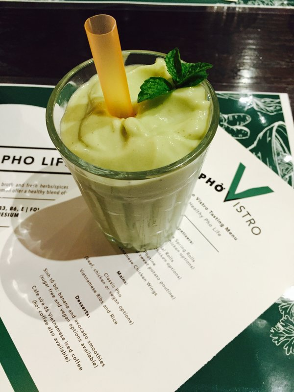 Avocado Smoothie and Menu at Pho Vistro Vietnamese Restaurant