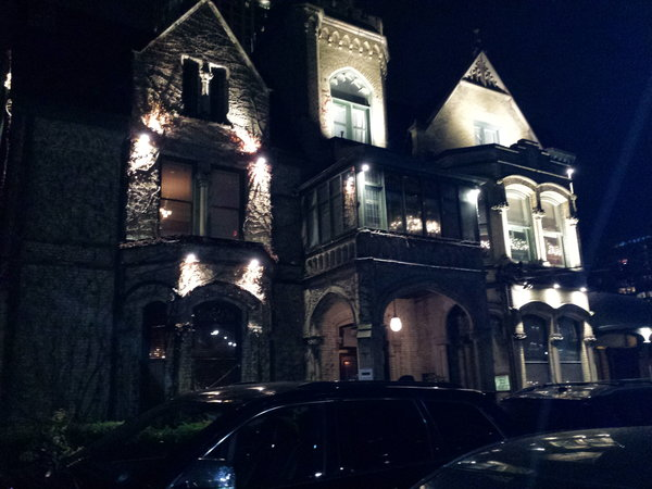 The Keg Mansion in Toronto lit up at night