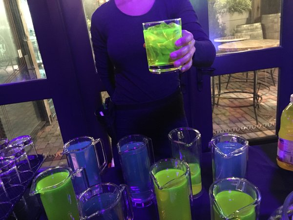 Neon drinks in the spirit of lights served at Cluny Bistro at Toronto Light Festival