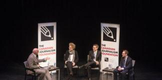 Neil Macdonald, CBC News columnist, Susanne Craig, New York Times investigative reporter, Daniel Dale, the Toronto Star Washington bureau chief, David A. Fahrenthold, Washington Post reporter at Politics & Democracy in America talk hosted by the Canadian Journalism Foundation in Toronto on Feb. 15, 2017