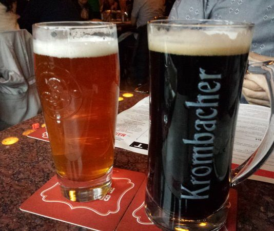 Brooklyn Lager, $6.64, and Krombacher Dark, $7.08, at The Bier Markt at Shops at Don Mills