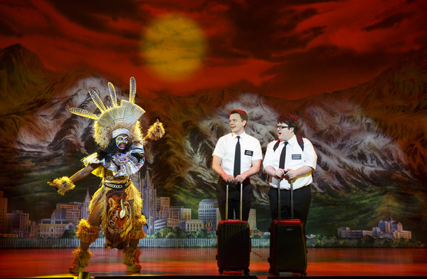 Monica L. Patton, David Larsen, Cody Jamison Strand The Book of Mormon National Tour, photo credit Joan Marcus, 2014