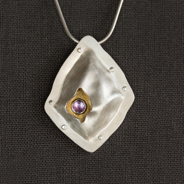 Amethyst Pendant Sterling Silver and Keum-boo Gold necklace, $370, by Andre Chenier at Artfest in the Distillery, one of the most popular things to do May long weekend in Toronto.