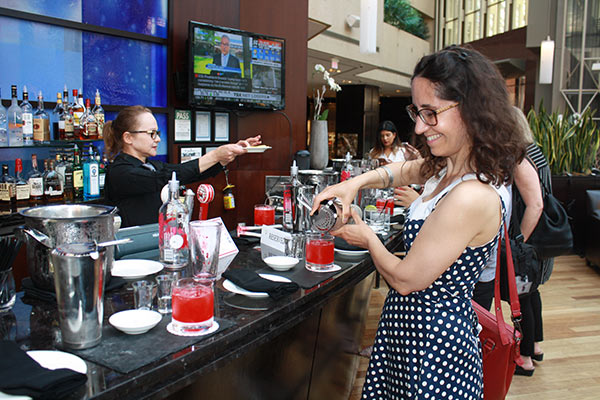 Making a raspberry cooler during Summerlicious at Azure Restaurant