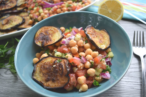 Chickpea and Fried Eggplant Salad