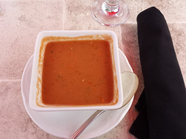 Gazpacho at The Briars' Fountain Court Patio