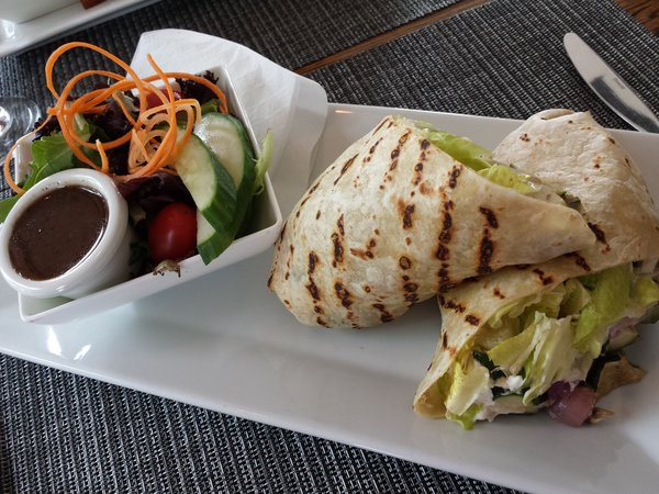 Grilled vegetables with garlic aioli and goat cheese in pita at Lake Simcoe Arms