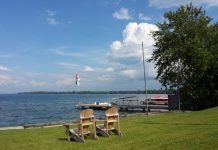 Muskoka chairs on the lawn at the Ramada Jackson's Point Resort