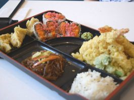 Bento Box with Tempura Shrimp and Spicy Salmon Rolls at Kibo Sushi