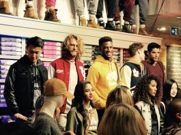 Models at opening of Roots Enhanced Experience Store at Yorkdale