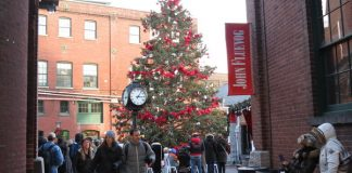 Huge Christmas tree at the Toronto Christmas Market in the Distillery District
